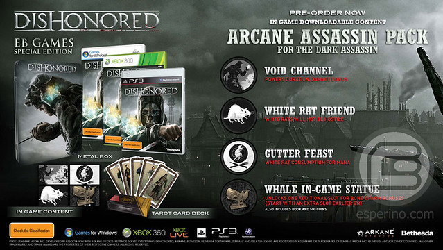 Dishonored Special Edition Comes in Metal Pak; Australian EB Exclusive