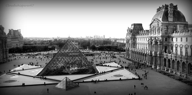 B&W Le Louvre Pyramids: Pharaohs Visiting Paris