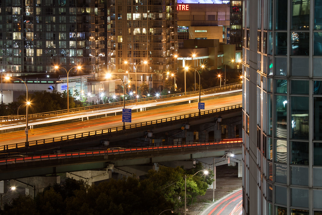 long exposure from my balcony in toronto at night overlooking the gardiner