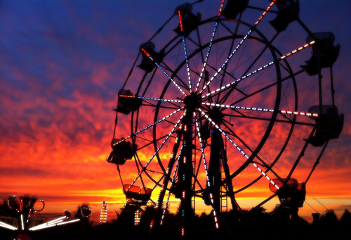 carnival sunset sky wheel ride stock free ferris