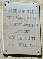 Photo of François-René de Chateaubriand grey plaque