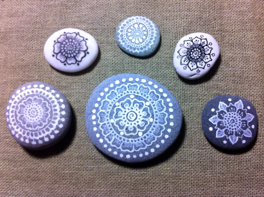 New mandala painted pebbles