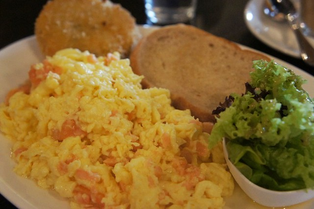 10.smoked salmon scramble- eggs scrambled with Norwegian smoked salmon and cream cheese, with parmesan-and-sage potato hash and bread of the day RM 22