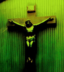 religious item, symbol, green, crucifix, cross,