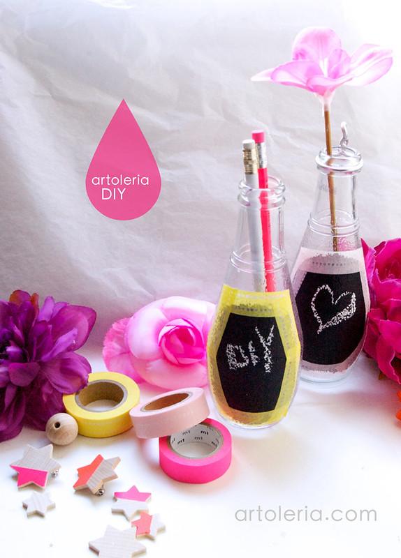 uso vernice lavagna riuso vasetti e bottiglie di vetro