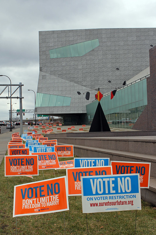 The Walker art museum in Minneapolis with hundreds of Vote No signs