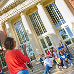 12-043-1 -- Family members gather for a group photo on the steps of the Hansen Student Center during Family Weekend.