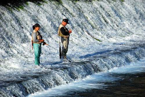 water fly fishing couple dam falls eloesch peoplebookeloesch