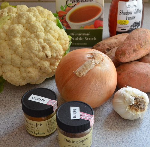 Making Curried Cauliflower & Sweet Potato Soup