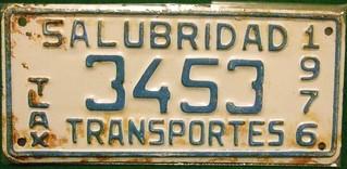 MEXICO, TLXCALA 1976 ---SALUBRIDAD HEALTH BOARD TRANSPORTER PLATE