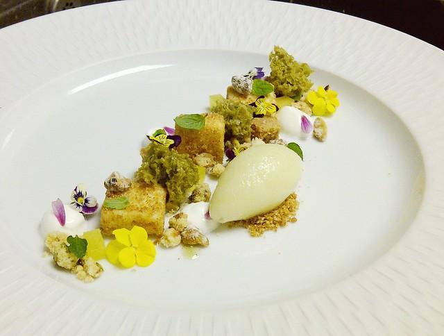 ... pistachio, greek yogurt, pistachio streusel and olive oil gelee