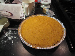 pumpkin cream pie in progress