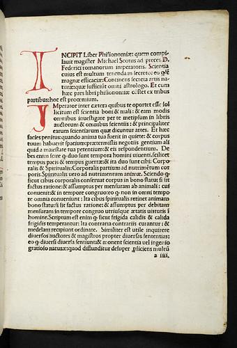Penwork initial in Michael Scotus: Liber physiognomiae