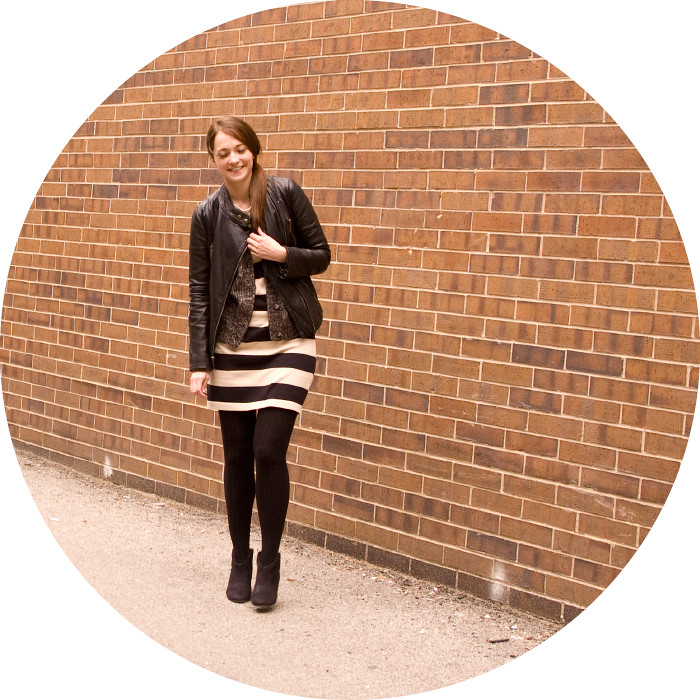 dash dot dotty, big stripes, striped dress, black tights, boots, leather jacket, layers, ootd, how to wear stripes