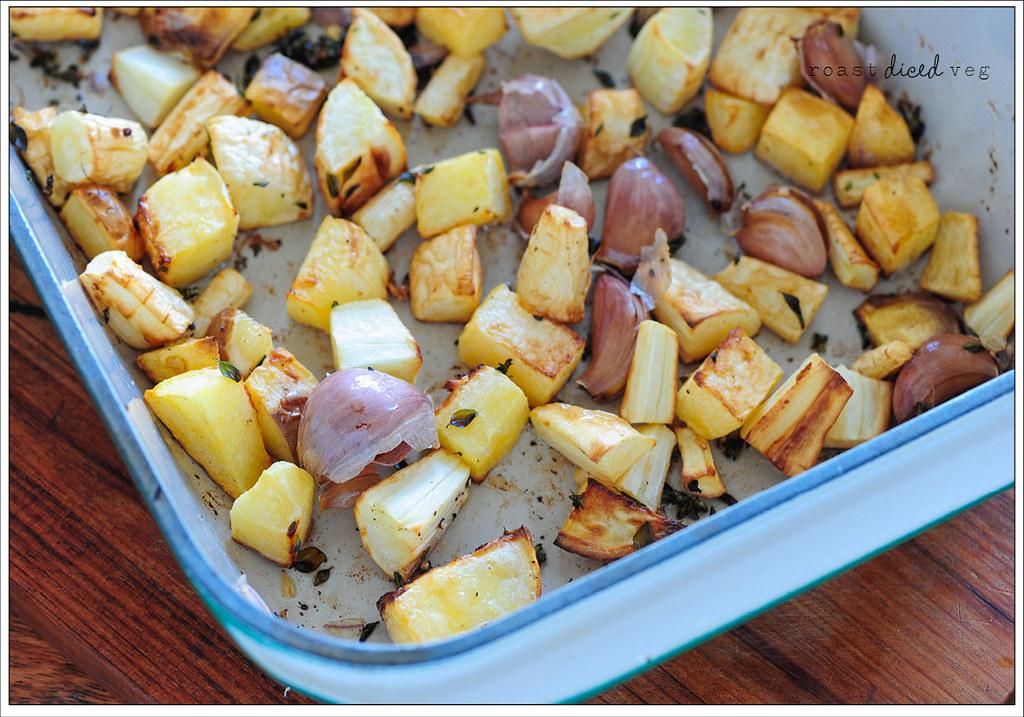 2 roast diced veg