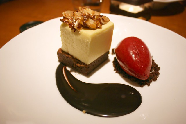 Ricotta Cheesecake with Black Currant Sorbet and Chocolate