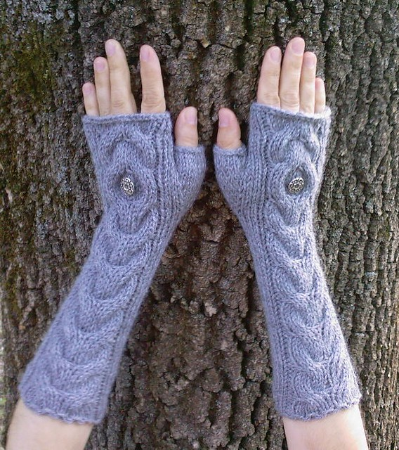 Grey Long Hand Knit Cable Pattern Fingerless Gloves ...