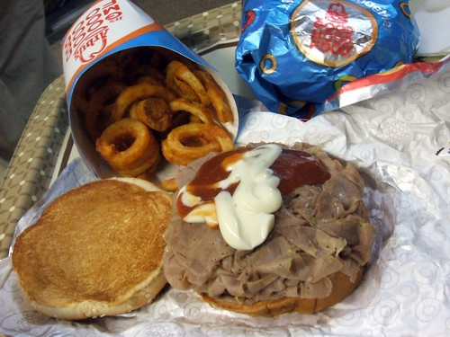 Roast beef and curly fries