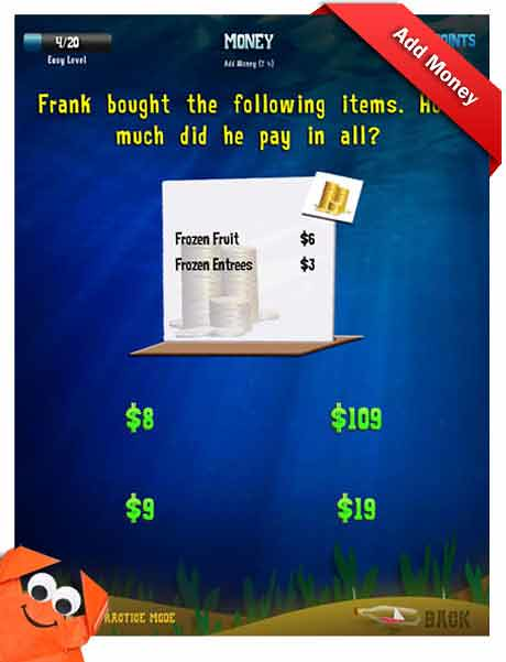 Grade 3 Math App - money