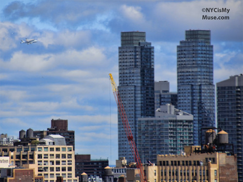 Space Shuttle flying up the Hudson near Silver Towers