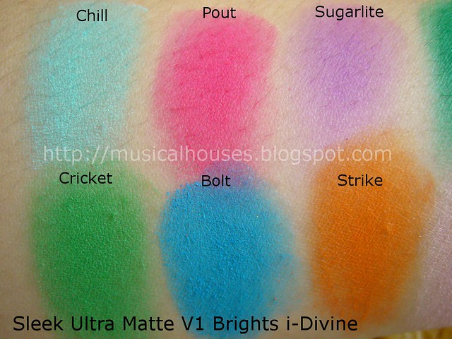 sleek ultra matte brights palette swatches 1