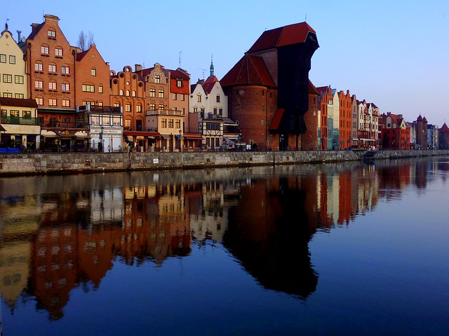 The medieval Krantor (Crane Gate) on the river Mottlau, Gdansk