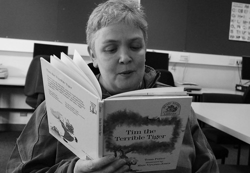 Jane reading me Tim The Terrible Tiger by Read Me Something You Love