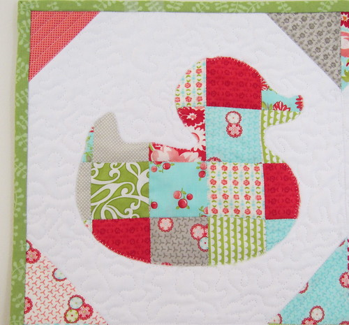 Patchwork Duckies Mini Quilt - Closeup (1 of 4)