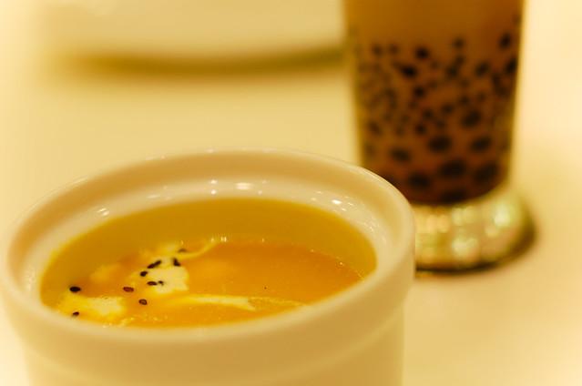 squash soup and taro milk tea