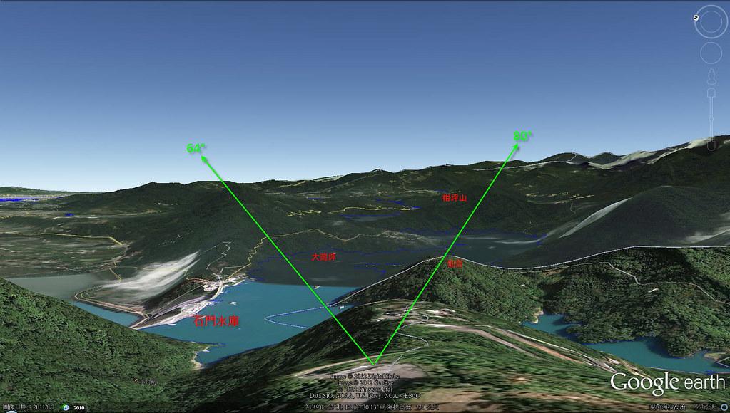 石門山拍攝點構圖方位角