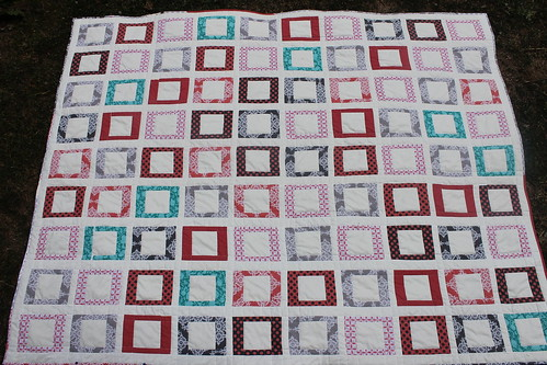 Coral and Gray Wedding Quilt