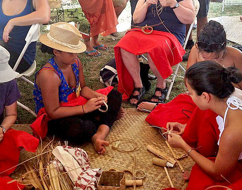 <p>Lauhala weaving at the University of Hawaii exhibit at the Smithsonian Folklife Festival.</p>