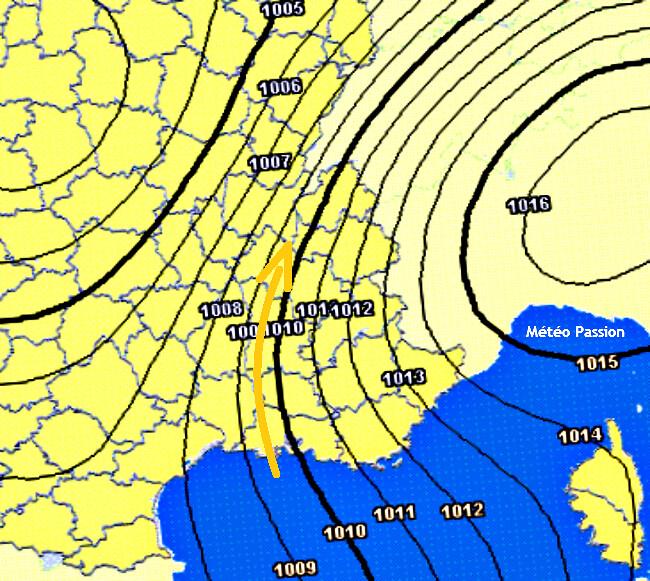 carte de pression lors du foehn et de la nuit tropicale à Grenoble les 22 et 23 juillet 2009 météopassion