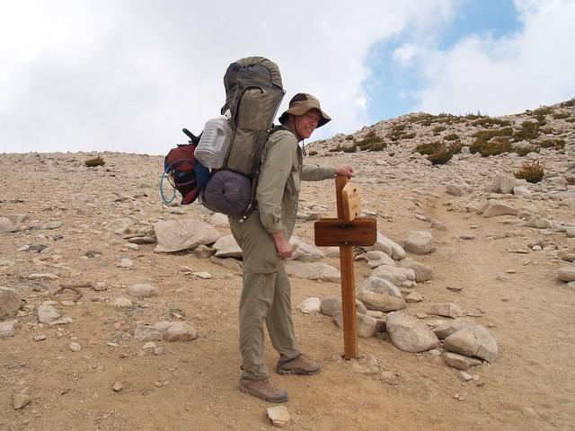 Me carrying extra weight at the junction of the Sky High Trail (1W07.3) and San Gorgonio Mountain Trail (1E02)