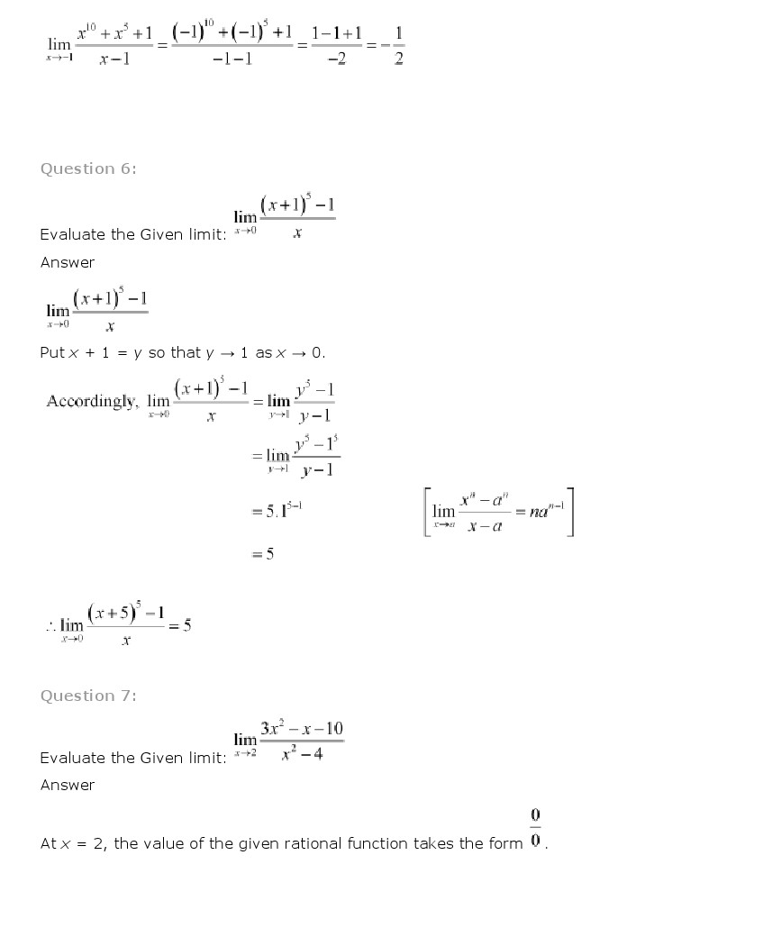 NCERT Solutions for Class 11 Maths Chapter 13 – Limits and ...