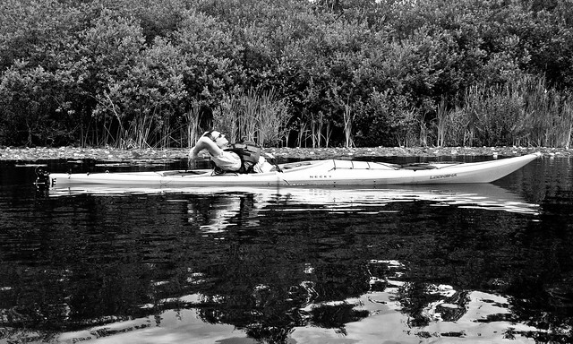 Dave and his Kayak (B&W)