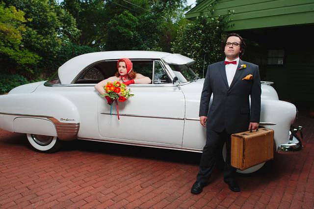 retro wedding getaway car