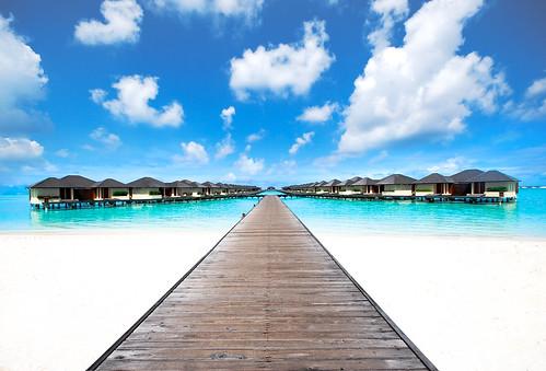 vacation sky haven beach clouds pier sand honeymoon resort reef maldives suites paradiseislandresortandspa luxeryvilla