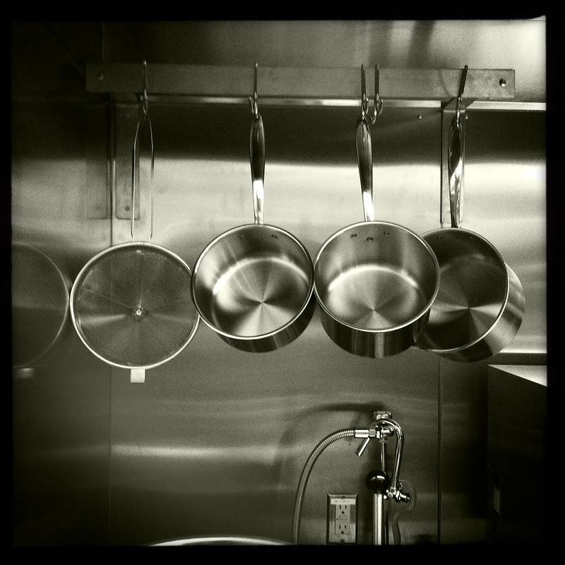 Shiny new pots look great in black n white