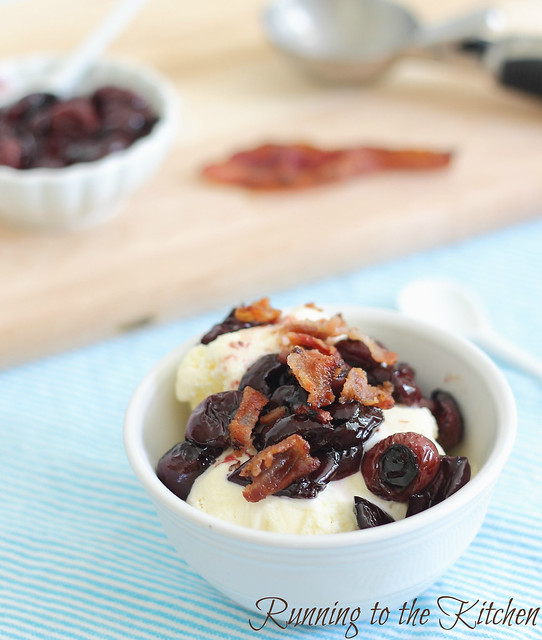 Ice cream with roasted cherries and bacon