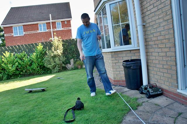 Doug helping Mark measure the garden