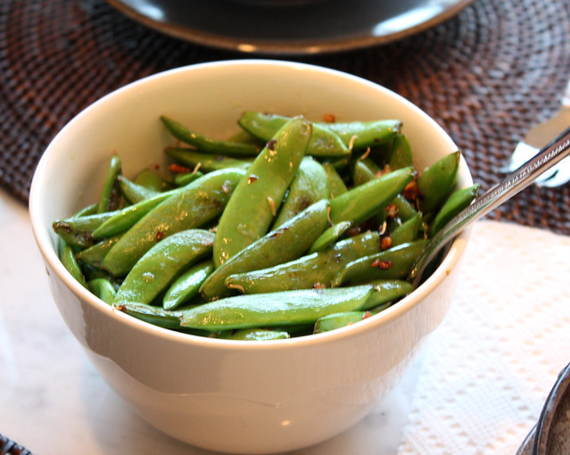 Sugar Snap Peas with Crushed Red Pepper