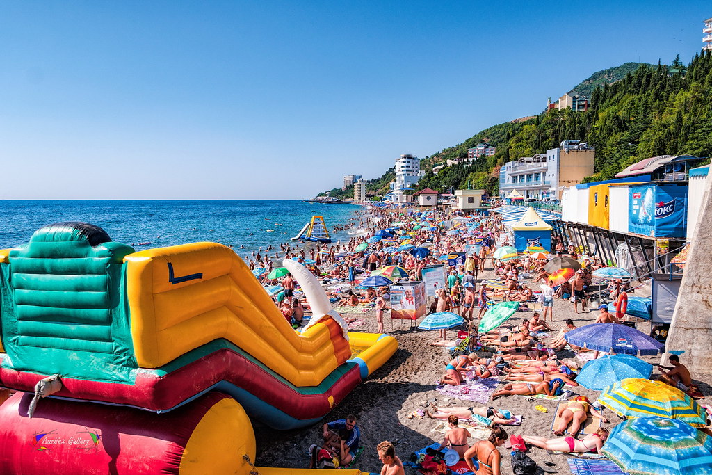 Beach in hot crimean summer