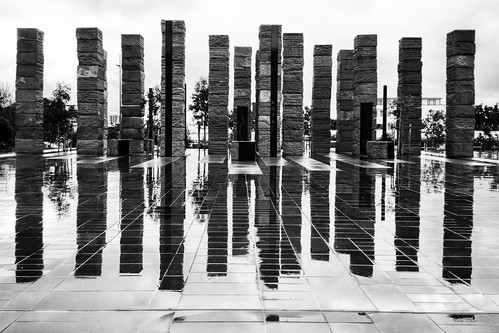<p>The monoliths at Pukeahu War Memorial park, Wellington NZ, on a rainy day. Galaxy S6 pro camera RAW mode processed with Snapseed</p>