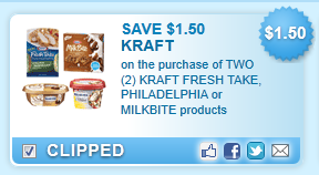 Kraft Fresh Take, Philadelphia Or Milkbite Products  Coupon