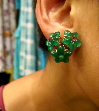 Sweet!! 1950s floral cluster earrings in a lovely jade green. Austrian. First hand, never worn.