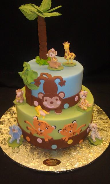 Monkey theme baby shower cake flickr photo sharing - Baby shower cakes monkey theme ...