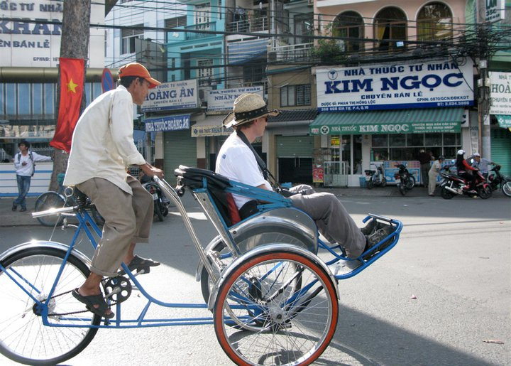 Brian Smith on a cyclo tour of Cholon.