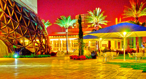 Dali Museum's Avant Garden, Quad and Mahaffey Theater at Night.
