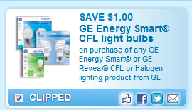 GE Energy Smart CFL light bulbs on purchase of any GE Energy Smart or GE Reveal CFL or Halogen lighting product from GE Coupon